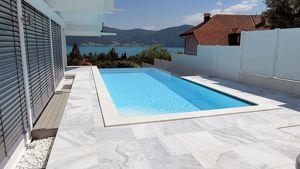 SETPREIS: Schwimmbadumrandung aus Naturstein - Granit, Marmor .... Römereinstieg oder normal, 8 x 4 m Sets ....